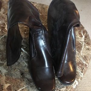 Brown soft leather boots